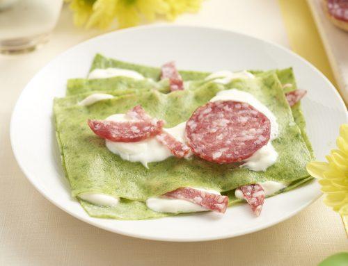 Lasagne met spinazie en Salamini Italiani alla Cacciatora AOP